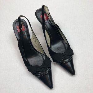 COACH Black Pointed toe kitten heels size 8.5